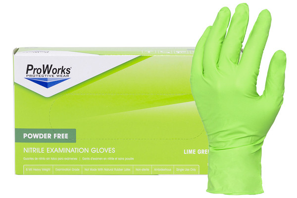 Lime green nitrile gloves